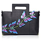 APHISON Designer Handmade Butterfly Ladies Genuine Leather Large Capacity Tote Bags Handbags 172601