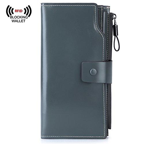 S-ZONE Women's RFID Blocking Large Capacity Genuine Leather Clutch Wallet Card Holder Organizer (Grey-Blue)