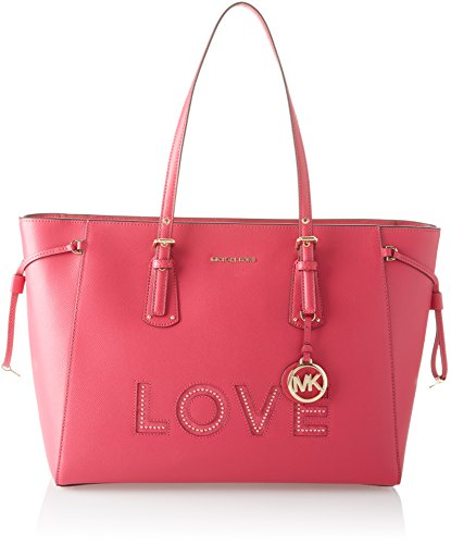 Michael Michael Kors Voyager Leather Love Large Top Zip Tote Handbag (Ultra Pink)