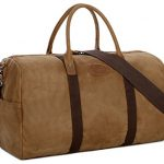 BAOSHA HB-03 Canvas Leather Travel Duffel Bag Overnight Weekender Bag Carry-on Bag Waterproof (Kakhi)