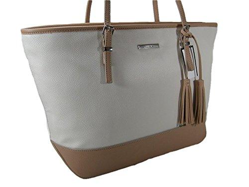 New Nine West Logo Purse XL Shoulder Hand Bag Tote It Girl Chalk Ivory Beige Tan