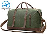 EverVanz Oversized Travel Duffel Bag Canvas Leather Trim Overnight Bag Sport Duffel Shoulder Handbag Large Unisex Weekend Bag