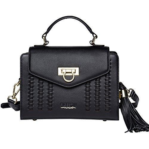 FIGESTIN Women Leather Top-Handle Handbags Retro Cross Body Tote Purse Bags