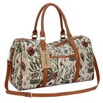 BAOSHA HB-29 Ladies Women Canvas Carry-on Weekender Bag Travel Duffel Tote Bag Weekend Overnight Travel Bag (Light flower)