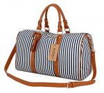 BAOSHA HB-24 Ladies Women Canvas Weekender Bag Travel Duffel Tote Bag Weekend Overnight Travel Bag (Blue)
