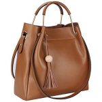 S-ZONE 3-Way Women Designer Leather Tassel Handbag Shouler Bag Crossbody Purse (Brown)