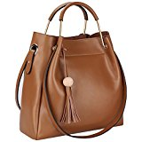 S-ZONE 3-Way Women Designer Leather Tassel Handbag Shouler Bag Crossbody Purse (Brown)
