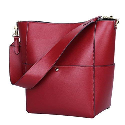 S-ZONE Women's Fashion Vintage Leather Tote Shoulder Bag Handbag Purse (Wine Red)