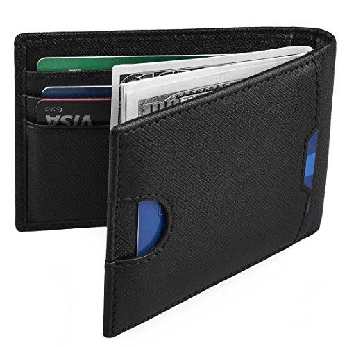 Mens Money Clip Wallet RFID Blocking Slim Wallets Leather Front Pocket Card Holder