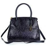 Giordano Italian Made Black Floral Embossed Leather Large Tote Handbag