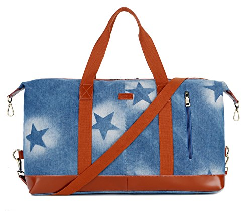 BAOSHA HB-14 Canvas Leather Travel Duffel Bag Carry on Weekender Overnight Bag for Women and Ladies Oversized (Blue Star)
