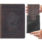 Passport Cover - Leather Holder - for Men & Women - Passport Case (Brown Vintage New)