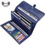 S-ZONE Women's RFID Blocking Real Leather Long Organizer Wallet Card Holder Ladies Clutch(Blue)
