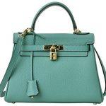 Cherish Kiss Women's Genuine Leather Tote Bag Cross Body Shoulder Padlock Handbags (32CM, Lake green)