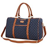 BAOSHA HB-25 Cute Lady Women Canvas Travel Bag Weekender Overnight Bag Carry-on Duffel Tote Bag (Blue Dot)