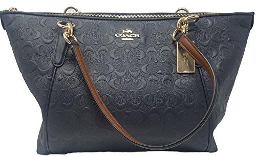 Coach AVA Leather Shopper Tote Bag Handbag (Midnight Embossed ... ed28a3eec743e