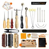 Leather Sewing Tools SIMPZIA 24 Pieces Leather Tools Craft DIY Hand Stitching Kit with Groover Awl Waxed Thimble Thread for Sewing Leather, Canvas or Other Leathercraft Projects