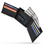 NEWHEY Mens Wallet RFID Blocking Slim Bifold Trifold Minimalist Genuine Leather with ID Window Black