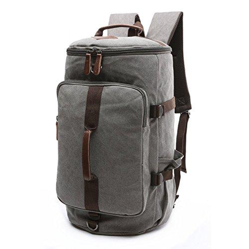 BAOSHA HB-26 3-Ways Vintage Canvas Men Holdall Weekend Travel Duffel Bag Backpack Messenger Shoulder Bags Convertible Travel Hiking Rucksack Weekender Overnight Bag Handbag (Grey)