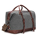 BAOSHA Oversized Canvas PU Leather Travel Tote Duffel Bag Weekender Overnight Bag (Grey)