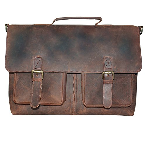 LUST 15 Inch Retro Buffalo Hunter Leather Laptop Messenger Bag Office Briefcase College Bag (Brown)
