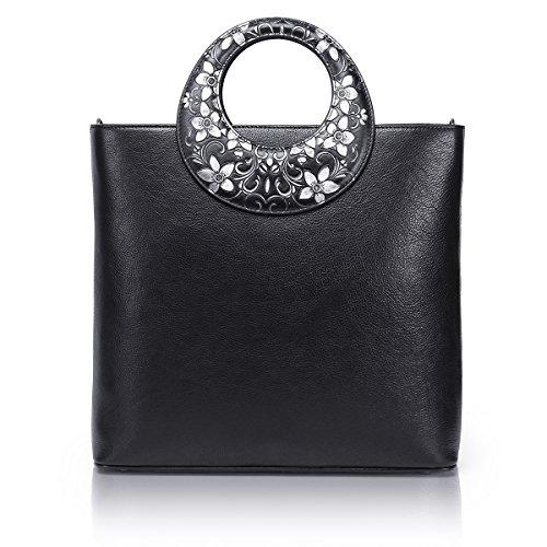 APHISON Ladies Genuine Leather Top Handle Bag Tote Bag Elegant Shoulder Bag For Women Handbags 6966