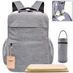 "Multi-Pocket Backpack Diaper Bag Insulated Pockets Anti-Water Material Sundry Bag Moms and Dads,Large 16.9""(H)x 11""(L)x 6.7""(W)- Grey"