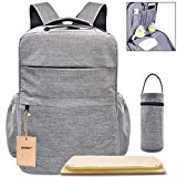 Multi-Pocket Backpack Diaper Bag Insulated Pockets Anti-Water Material Sundry Bag Moms and Dads,Large 16.9''(H)x 11''(L)x 6.7''(W)- Grey
