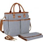 BAOSHA MY-01 Baby Nappy Changing Bag Diaper Tote Bag Messenger Bag with Changing Mat for Mom (Blue Strip)