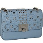 MICHAEL Michael Kors Women's TINA Medium Shoulder Flap Leather Evening Studded Handbag (Pale Blue)