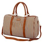 BAOSHA HB-24 Ladies Women Canvas Weekender Bag Travel Duffel Tote Bag Weekend Overnight Travel Bag (Khaki)