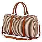 BAOSHA HB-24 Ladies Women Canvas Weekender Bag Travel Duffel Tote Bag Weekend Overnight Travel Bag (Khaki)