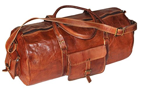 Genuine Leather Mens Duffel Gym Bag Sports Weekend Bag Carry on Bag