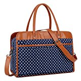 BAOSHA HB-30 Ladies Women Canvas Travel Weekender Overnight Carry-on Duffel Tote Bag With PU Leather Strap (Blue Dot)