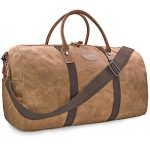Travel Duffel Bag Waterproof Canvas Overnight Bag Leather Weekend Carryon Bag