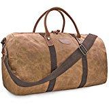 Travel Duffel Bag Waterproof Canvas Overnight Bag Leather Weekend Carryon Bag