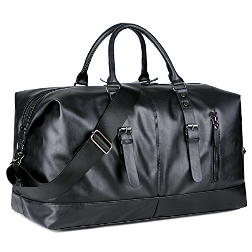 BAOSHA Canvas PU Leather Travel Tote Duffel Bag Carry on Bag Weekender Overnight Bag (PU Black)