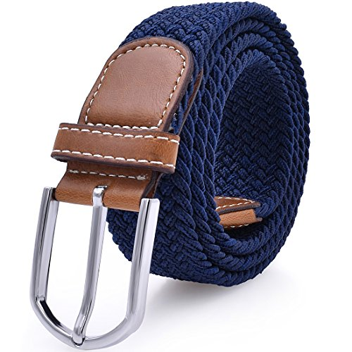 Mens Stretch Belt Elastic Fabric Braided Woven Web Canvas Women Leather Unisex Cotton Multicolored Belt Blue
