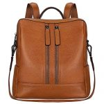 S-ZONE Lightweight Women Genuine Leather Backpack Casual Shoulder Bag Purse Medium (Brown)