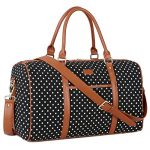 BAOSHA HB-25 Cute Lady Women Canvas Travel Bag Weekender Overnight Bag Carry-on Duffel Tote Bag (Black Dot)