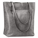 S-ZONE Vintage Genuine Leather Tote Shoulder Bag Handbag Big Large Capacity (Gray)