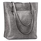 S-ZONE Vintage Genuine Leather Tote Shoulder Bag Handbag Big Large Capacity (Gray)