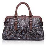 APHISON Women Genuine Leather Handbag Large Capacity Tote Bags Embossed Design Shoulder Bag For Ladies 81084 (BLACK)