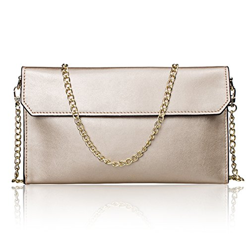 S-ZONE Women's Genuine Leather Envelope Clutches Handbag Shoulder Evening Bag (Light Gold)