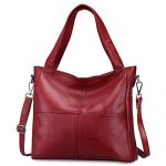 S-ZONE Women's Genuine Leather Large Tote Handbag Shoulder Crossbody Bag (Red)