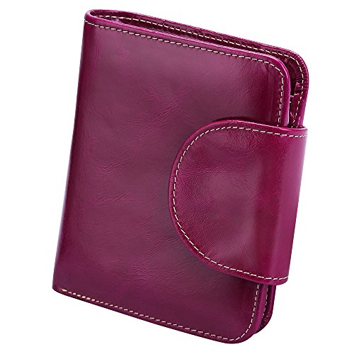 S-ZONE Women's Genuine Leather Tri-Fold Small Wallet Compact Card Organizer with Photo Slot (Purple)