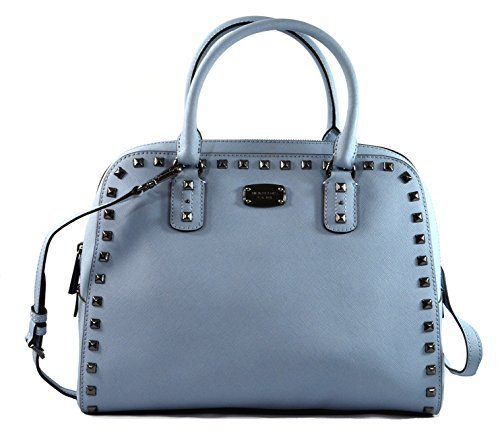 Michael Kors Saffiano Leather Stud Crossbody Bag Pale Blue