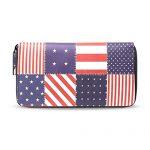 American Usa Flag Long Purses Zip Around Card Case Holder Clutch Purse Handbag