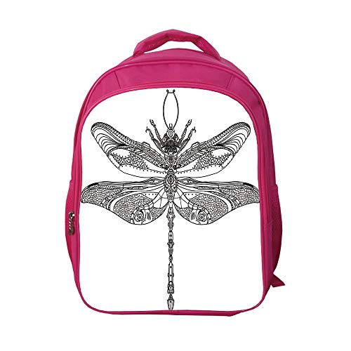 49e46de1478a iPrint School Bags Kid's Backpacks Customizable,Dragonfly,Artistic Baroque  Patterned Ornamental Dragonfly Figure Old Fashion Bug Design,Black  White,Picture ...