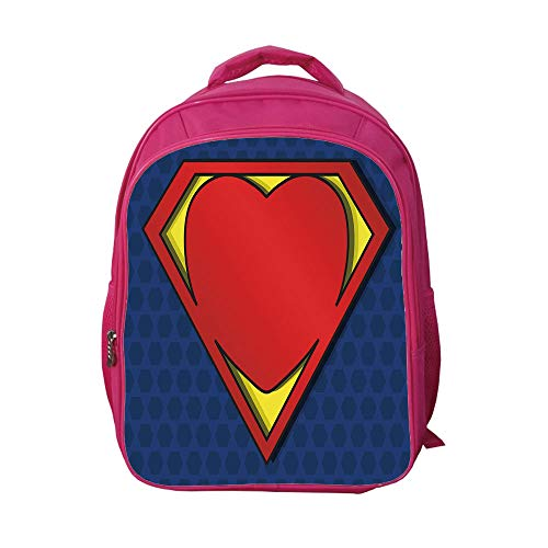 7e5cfcc26a4 iPrint School Bags Kid s Backpacks Custom,Superhero,My Super Man Shield  Logo with Heart Figure Valantines Romance Print,Night Blue Red  Yellow,Personalized ...